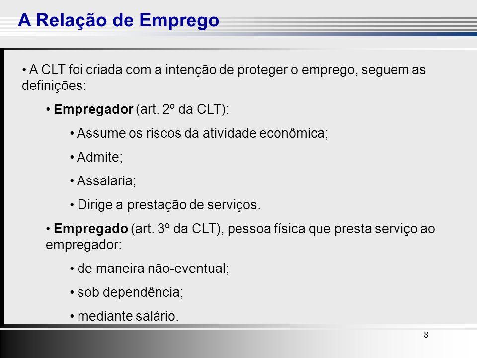 8 A Relação de Emprego 88 A CLT foi criada com a intenção de proteger o emprego, seguem as definições: Empregador (art. 2º da CLT): Assume os riscos d