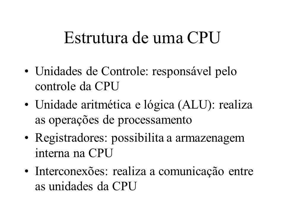 Estrutura de uma CPU Unidades de Controle: responsável pelo controle da CPU Unidade aritmética e lógica (ALU): realiza as operações de processamento R