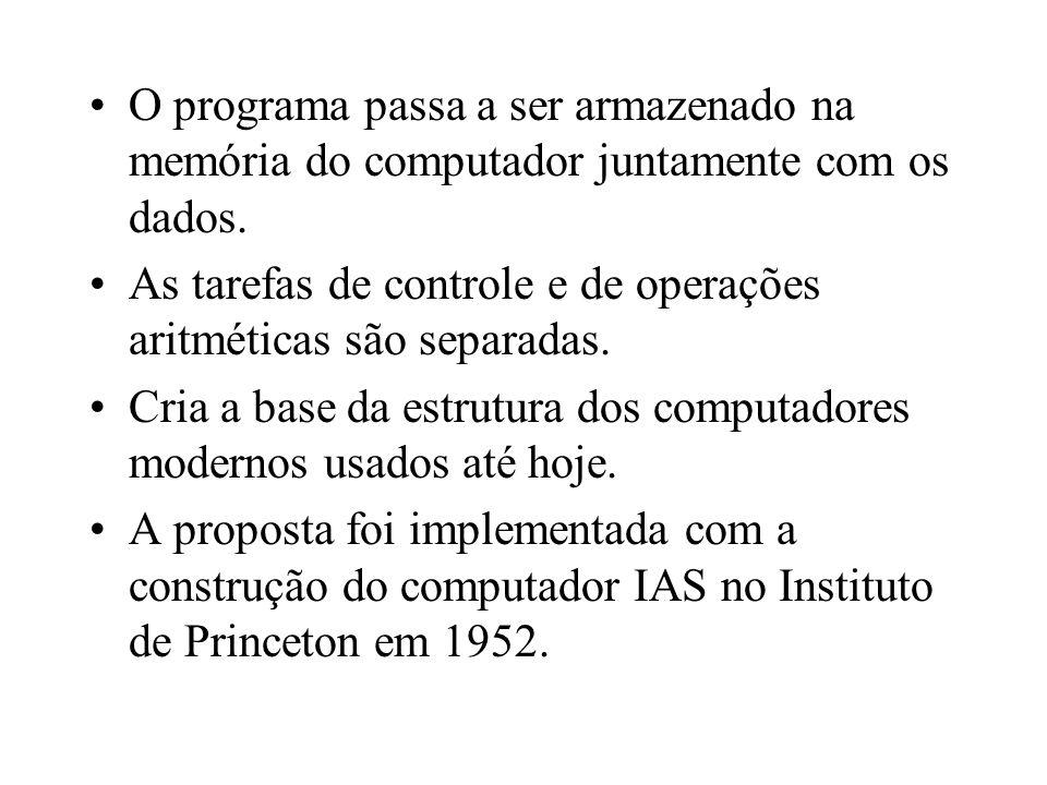 O programa passa a ser armazenado na memória do computador juntamente com os dados. As tarefas de controle e de operações aritméticas são separadas. C