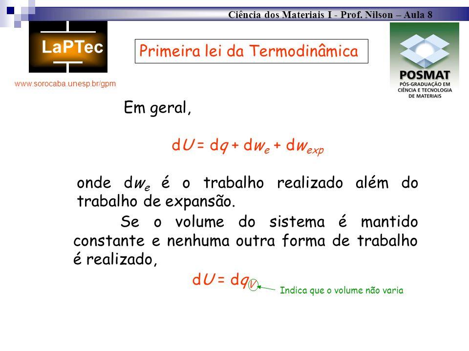 Ciência dos Materiais I - Prof. Nilson – Aula 8 www.sorocaba.unesp.br/gpm Primeira lei da Termodinâmica Em geral, dU = dq + dw e + dw exp onde dw e é