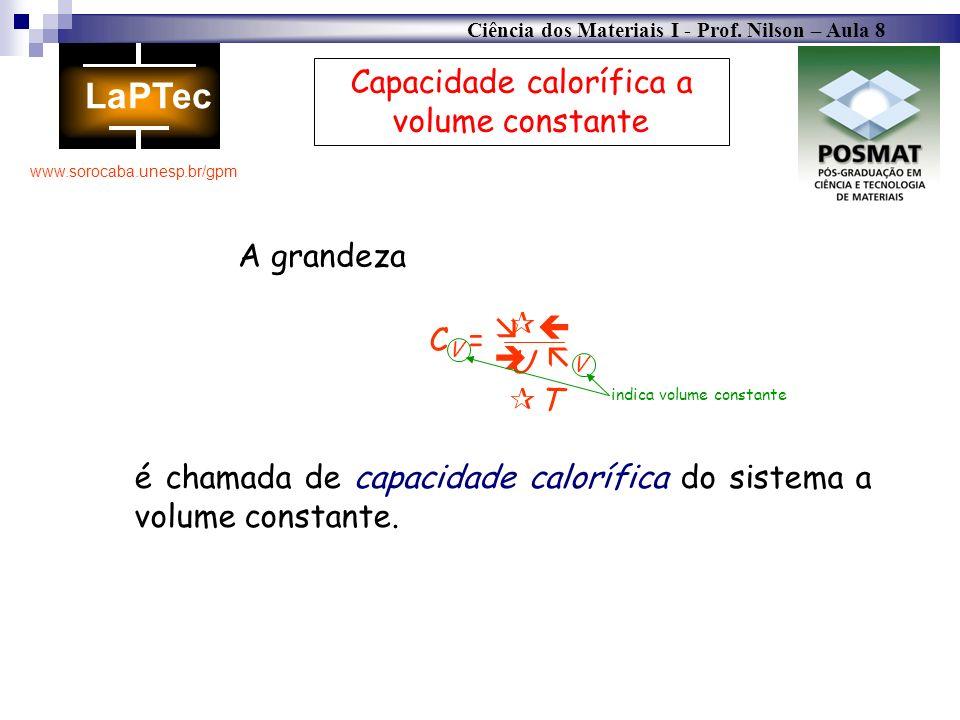 Ciência dos Materiais I - Prof. Nilson – Aula 8 www.sorocaba.unesp.br/gpm Capacidade calorífica a volume constante CV =CV = U T V A grandeza é chamada