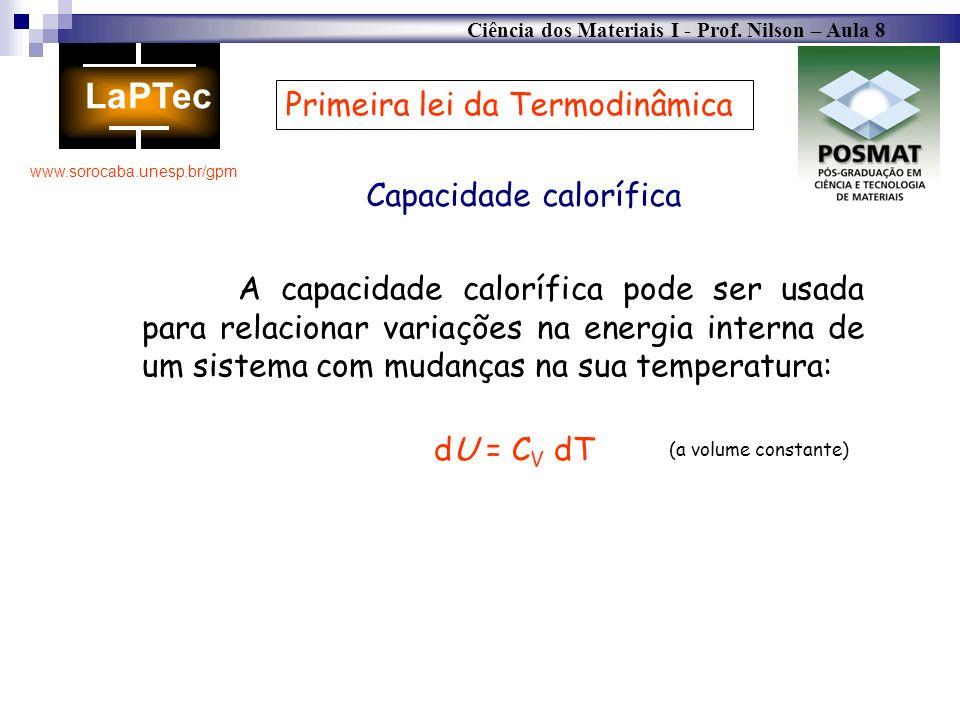 Ciência dos Materiais I - Prof. Nilson – Aula 8 www.sorocaba.unesp.br/gpm Primeira lei da Termodinâmica Capacidade calorífica A capacidade calorífica