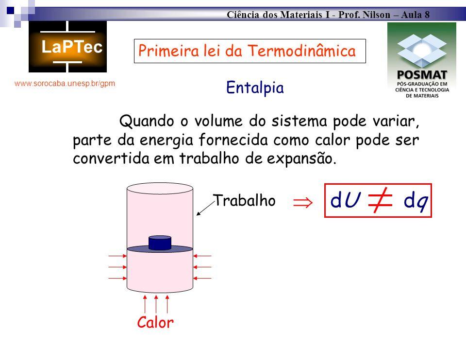 Ciência dos Materiais I - Prof. Nilson – Aula 8 www.sorocaba.unesp.br/gpm Primeira lei da Termodinâmica Entalpia Quando o volume do sistema pode varia