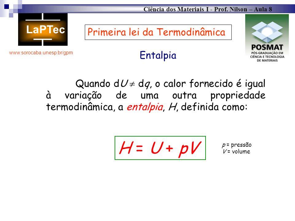 Ciência dos Materiais I - Prof. Nilson – Aula 8 www.sorocaba.unesp.br/gpm Primeira lei da Termodinâmica Entalpia Quando dU dq, o calor fornecido é igu