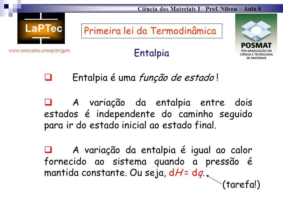 Ciência dos Materiais I - Prof. Nilson – Aula 8 www.sorocaba.unesp.br/gpm Primeira lei da Termodinâmica Entalpia Entalpia é uma função de estado ! A v