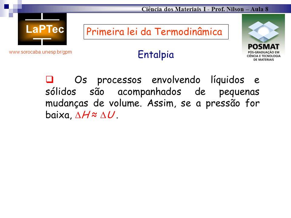 Ciência dos Materiais I - Prof. Nilson – Aula 8 www.sorocaba.unesp.br/gpm Primeira lei da Termodinâmica Entalpia Os processos envolvendo líquidos e só