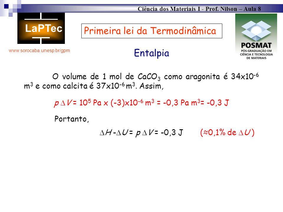 Ciência dos Materiais I - Prof. Nilson – Aula 8 www.sorocaba.unesp.br/gpm Primeira lei da Termodinâmica Entalpia O volume de 1 mol de CaCO 3 como arag