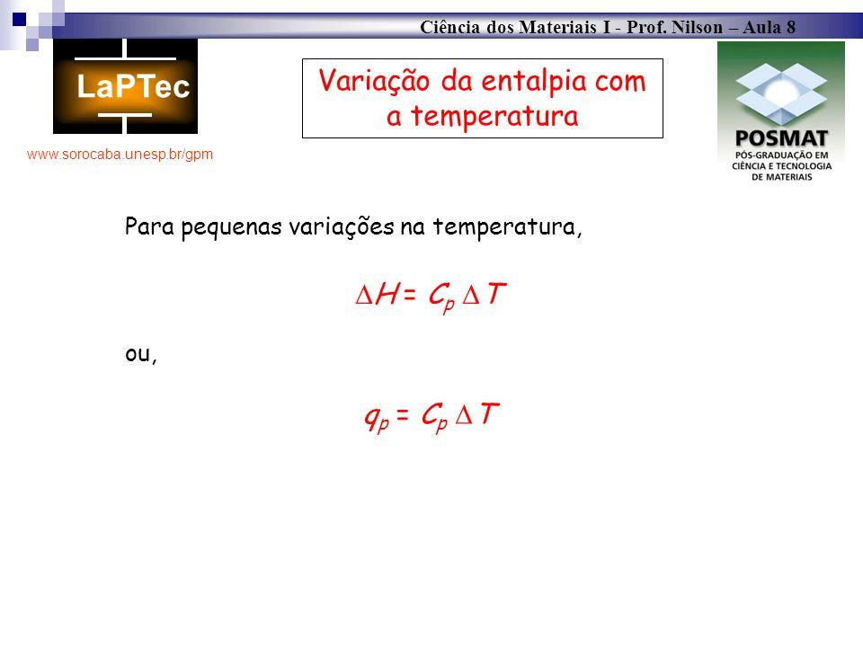 Ciência dos Materiais I - Prof. Nilson – Aula 8 www.sorocaba.unesp.br/gpm Variação da entalpia com a temperatura Para pequenas variações na temperatur