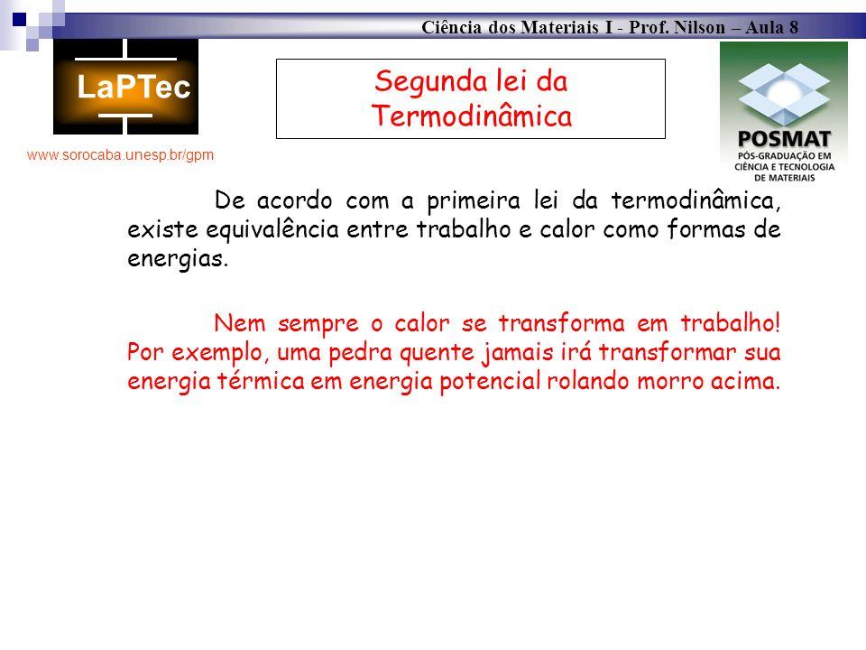 Ciência dos Materiais I - Prof. Nilson – Aula 8 www.sorocaba.unesp.br/gpm Segunda lei da Termodinâmica De acordo com a primeira lei da termodinâmica,