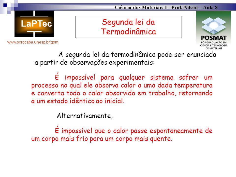 Ciência dos Materiais I - Prof. Nilson – Aula 8 www.sorocaba.unesp.br/gpm Segunda lei da Termodinâmica A segunda lei da termodinâmica pode ser enuncia