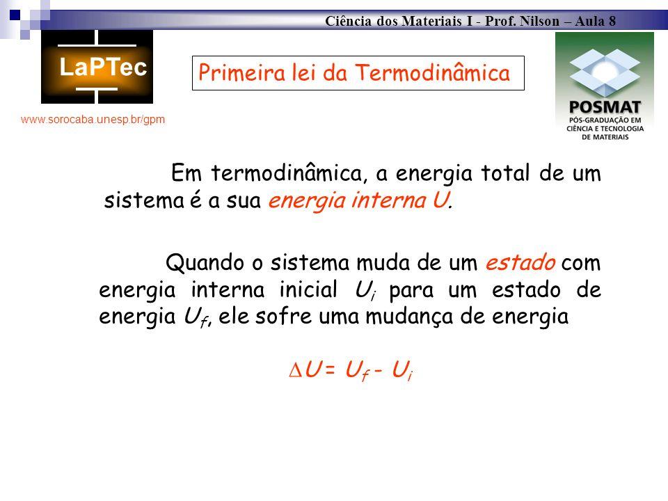 Ciência dos Materiais I - Prof. Nilson – Aula 8 www.sorocaba.unesp.br/gpm Primeira lei da Termodinâmica Em termodinâmica, a energia total de um sistem