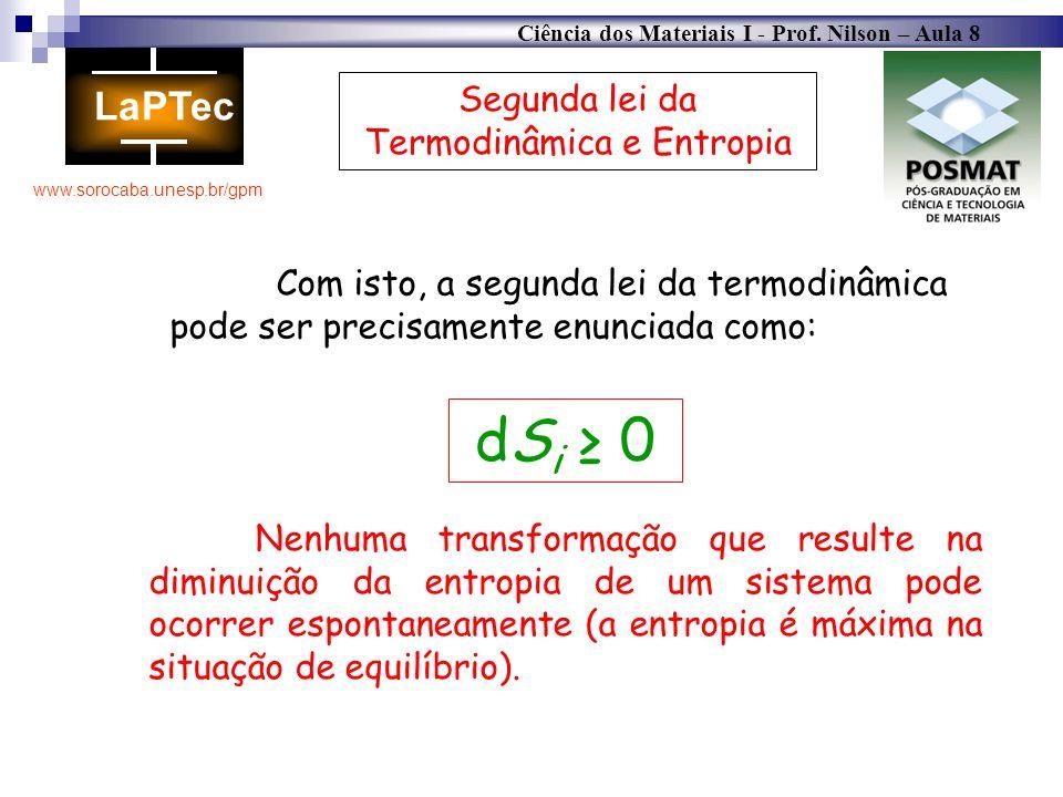 Ciência dos Materiais I - Prof. Nilson – Aula 8 www.sorocaba.unesp.br/gpm Nenhuma transformação que resulte na diminuição da entropia de um sistema po