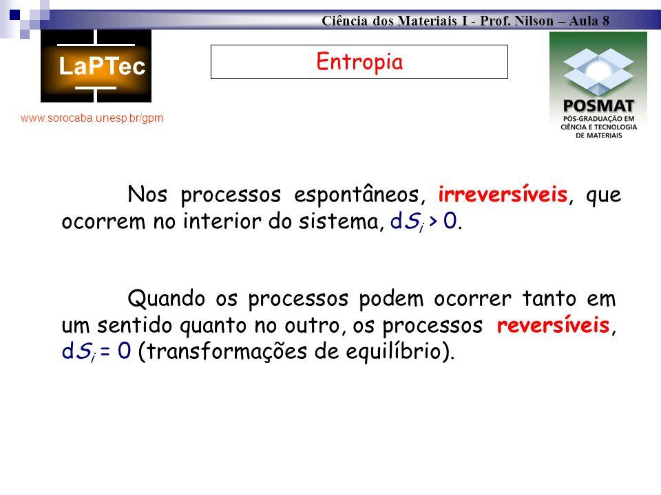 Ciência dos Materiais I - Prof. Nilson – Aula 8 www.sorocaba.unesp.br/gpm Entropia Nos processos espontâneos, irreversíveis, que ocorrem no interior d