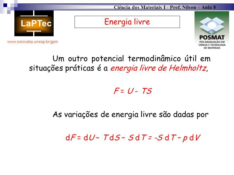 Ciência dos Materiais I - Prof. Nilson – Aula 8 www.sorocaba.unesp.br/gpm Energia livre Um outro potencial termodinâmico útil em situações práticas é