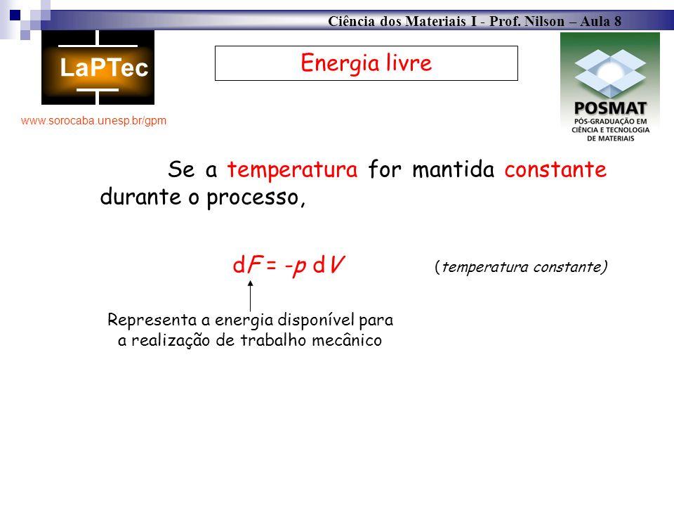 Ciência dos Materiais I - Prof. Nilson – Aula 8 www.sorocaba.unesp.br/gpm Energia livre Se a temperatura for mantida constante durante o processo, dF