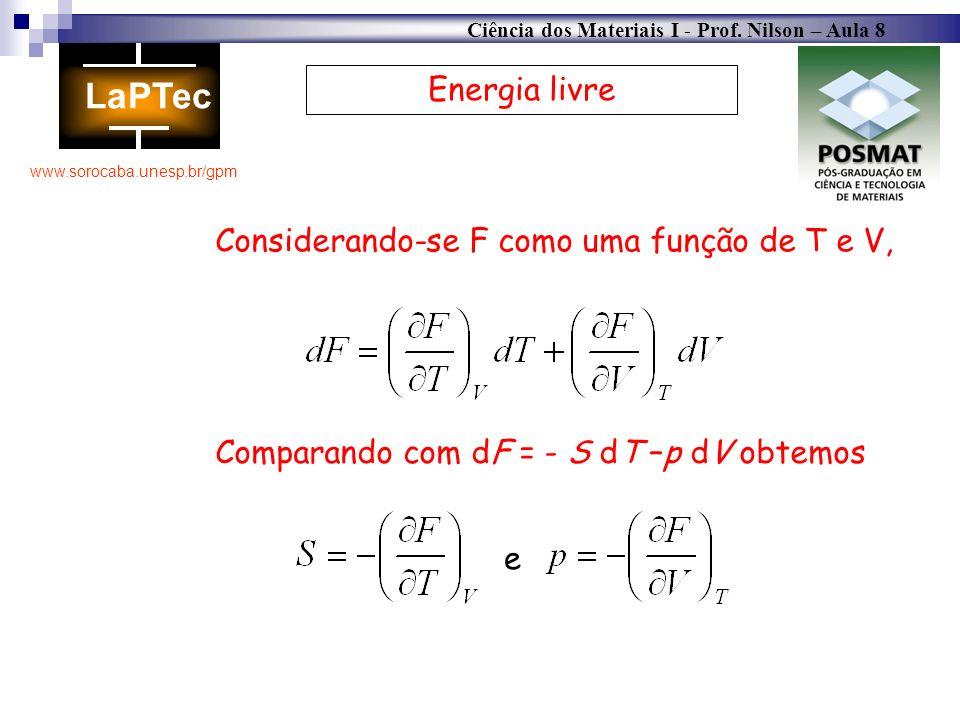 Ciência dos Materiais I - Prof. Nilson – Aula 8 www.sorocaba.unesp.br/gpm Energia livre Considerando-se F como uma função de T e V, Comparando com dF