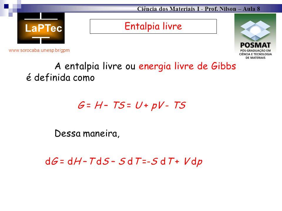 Ciência dos Materiais I - Prof. Nilson – Aula 8 www.sorocaba.unesp.br/gpm Entalpia livre A entalpia livre ou energia livre de Gibbs é definida como dG