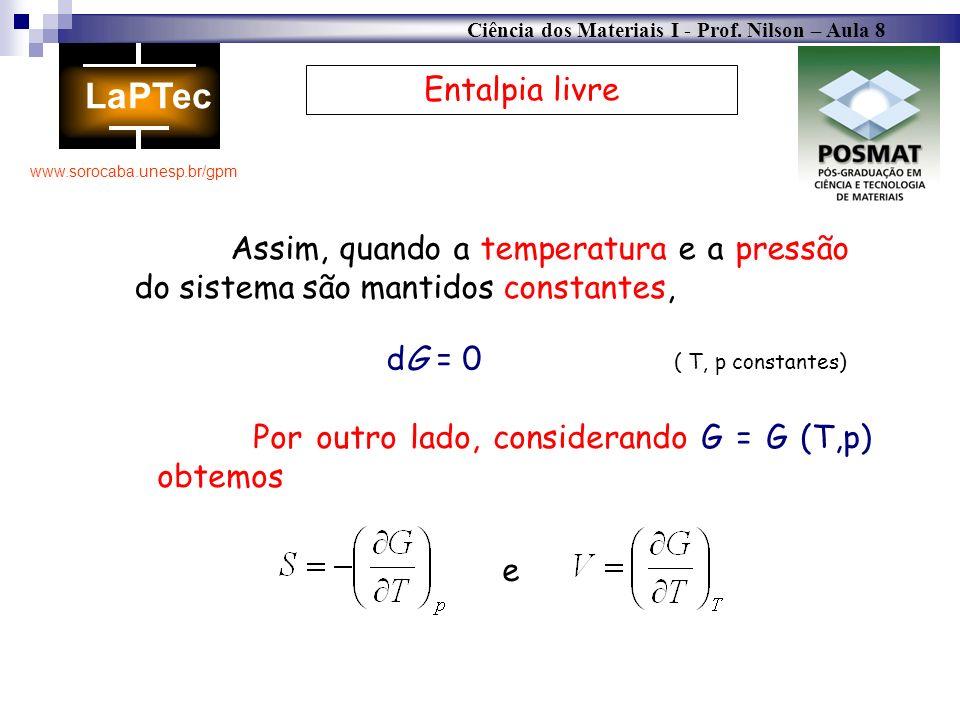 Ciência dos Materiais I - Prof. Nilson – Aula 8 www.sorocaba.unesp.br/gpm Entalpia livre Assim, quando a temperatura e a pressão do sistema são mantid