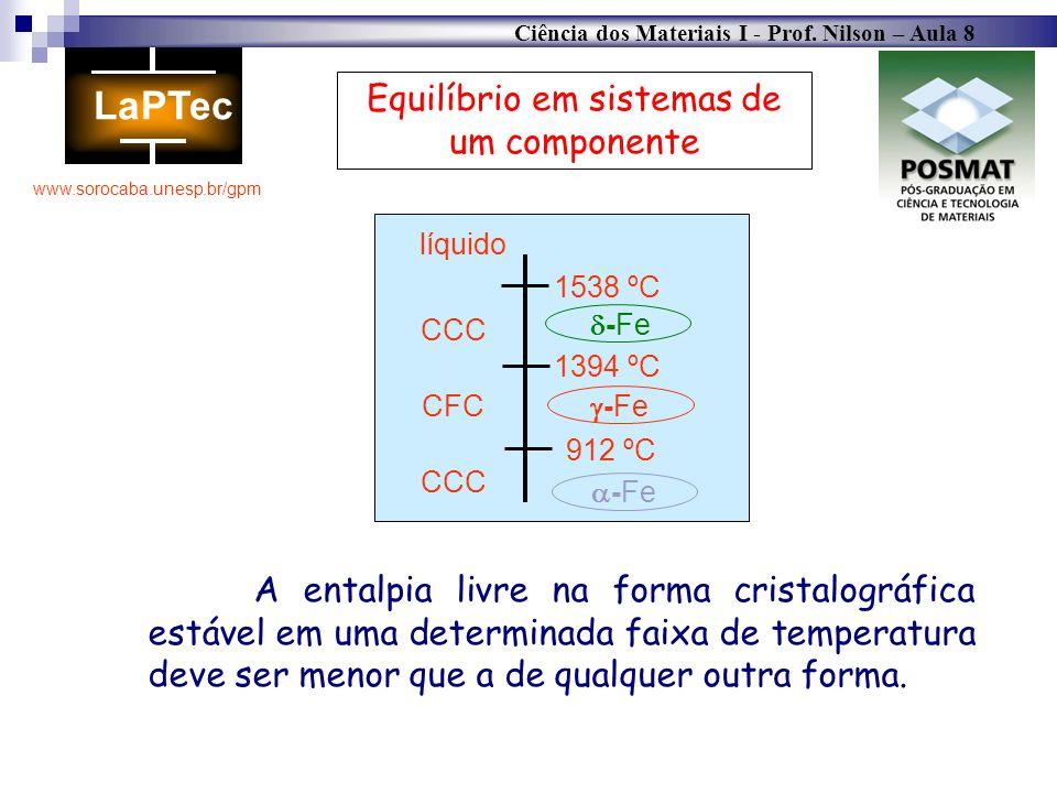 Ciência dos Materiais I - Prof. Nilson – Aula 8 www.sorocaba.unesp.br/gpm Equilíbrio em sistemas de um componente A entalpia livre na forma cristalogr