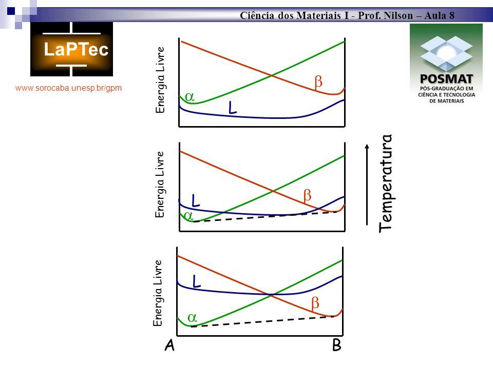 Ciência dos Materiais I - Prof. Nilson – Aula 8 www.sorocaba.unesp.br/gpm Temperatura L A B Energia Livre L Energia Livre L Energia Livre