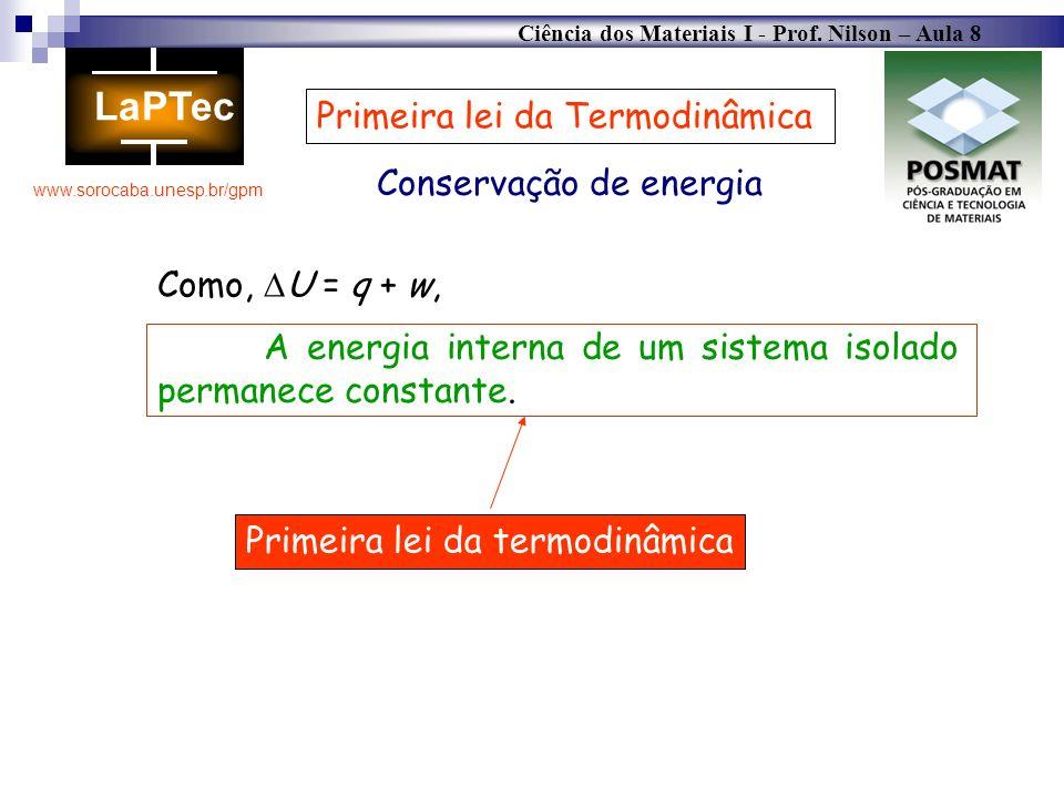 Ciência dos Materiais I - Prof. Nilson – Aula 8 www.sorocaba.unesp.br/gpm Conservação de energia Primeira lei da Termodinâmica A energia interna de um