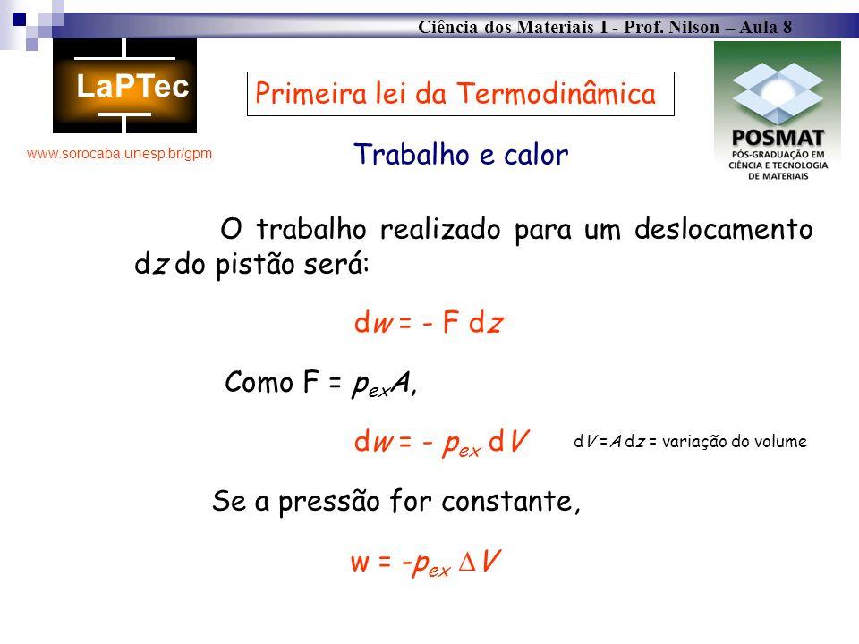 Ciência dos Materiais I - Prof. Nilson – Aula 8 www.sorocaba.unesp.br/gpm Trabalho e calor Primeira lei da Termodinâmica O trabalho realizado para um