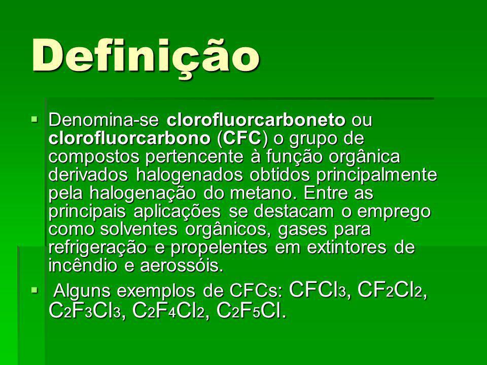 Definição Denomina-se clorofluorcarboneto ou clorofluorcarbono (CFC) o grupo de compostos pertencente à função orgânica derivados halogenados obtidos principalmente pela halogenação do metano.