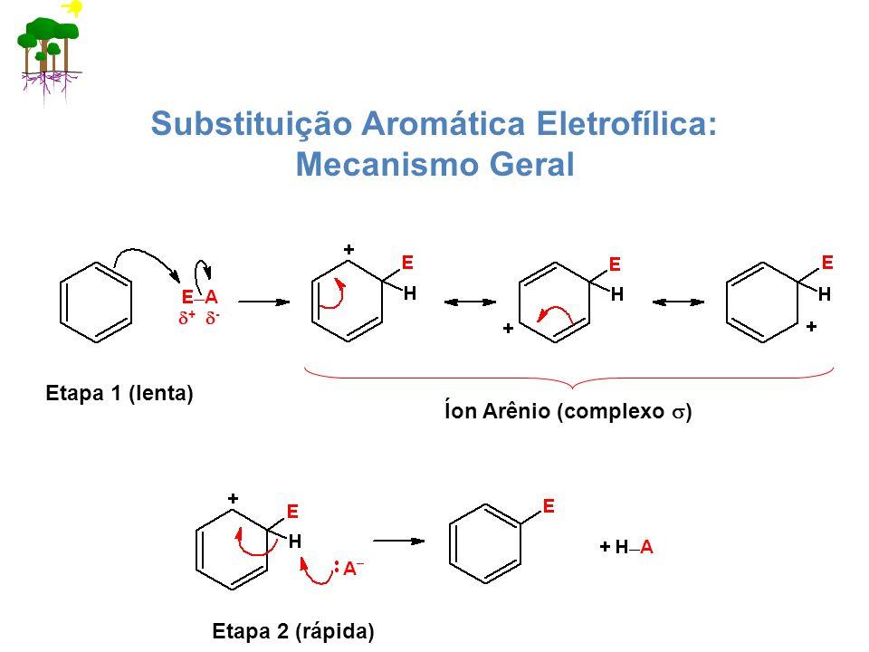 Substituição Aromática Eletrofílica: Mecanismo Geral Etapa 2 (rápida) Íon Arênio (complexo ) Etapa 1 (lenta) + -