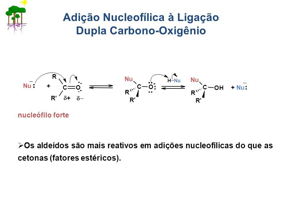 Adição Nucleofílica à Ligação Dupla Carbono-Oxigênio Os aldeídos são mais reativos em adições nucleofílicas do que as cetonas (fatores estéricos). CO