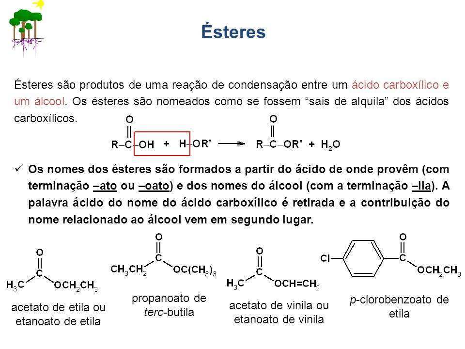 Ésteres Ésteres são produtos de uma reação de condensação entre um ácido carboxílico e um álcool. Os ésteres são nomeados como se fossem sais de alqui