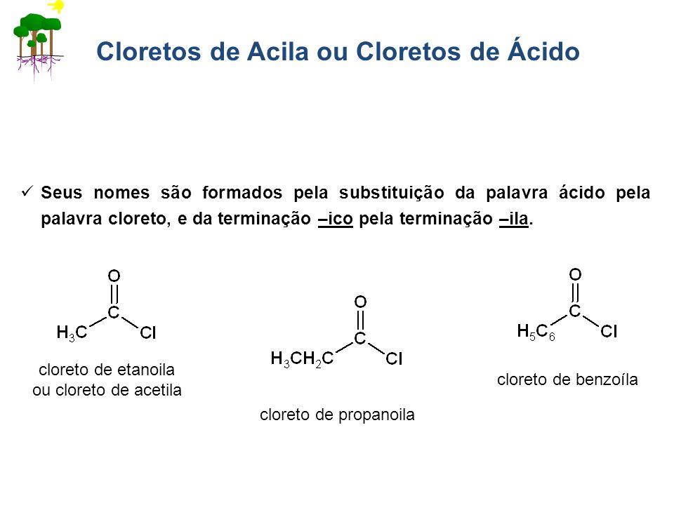 Cloretos de Acila ou Cloretos de Ácido Seus nomes são formados pela substituição da palavra ácido pela palavra cloreto, e da terminação –ico pela term