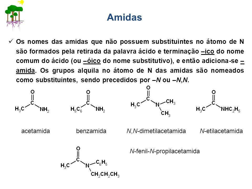 Amidas Os nomes das amidas que não possuem substituintes no átomo de N são formados pela retirada da palavra ácido e terminação –ico do nome comum do