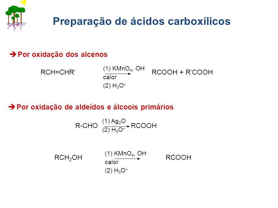 Preparação de ácidos carboxílicos Por oxidação dos alcenos RCH=CHR RCOOH + RCOOH (1) KMnO 4, OH - calor (2) H 3 O + Por oxidação de aldeídos e álcoois