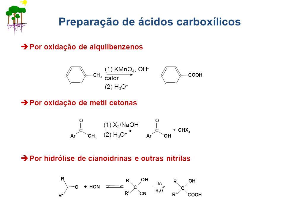 Preparação de ácidos carboxílicos Por oxidação de alquilbenzenos (1) KMnO 4, OH - calor (2) H 3 O + Por oxidação de metil cetonas (1) X 2 /NaOH (2) H