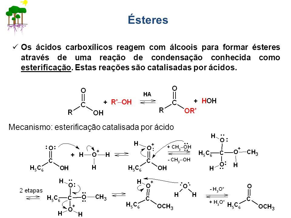 Ésteres Os ácidos carboxílicos reagem com álcoois para formar ésteres através de uma reação de condensação conhecida como esterificação. Estas reações