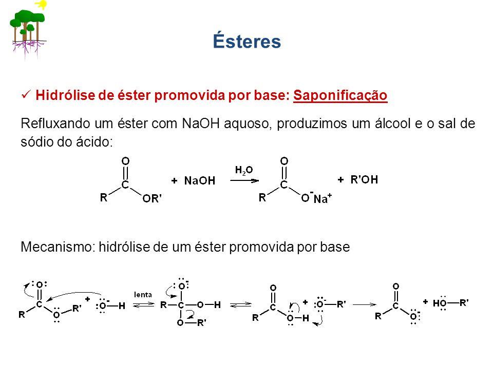 Ésteres Refluxando um éster com NaOH aquoso, produzimos um álcool e o sal de sódio do ácido: Hidrólise de éster promovida por base: Saponificação Meca