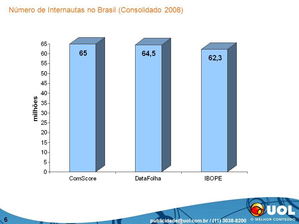 publicidade@uol.com.br / (11) 3038-8200 7 Fonte: IBOPE/NetRatings - Base Domiciliar - mercado nacional Nos últimos dois anos, crescimento de mais de 50% Evolução de Internautas domiciliares
