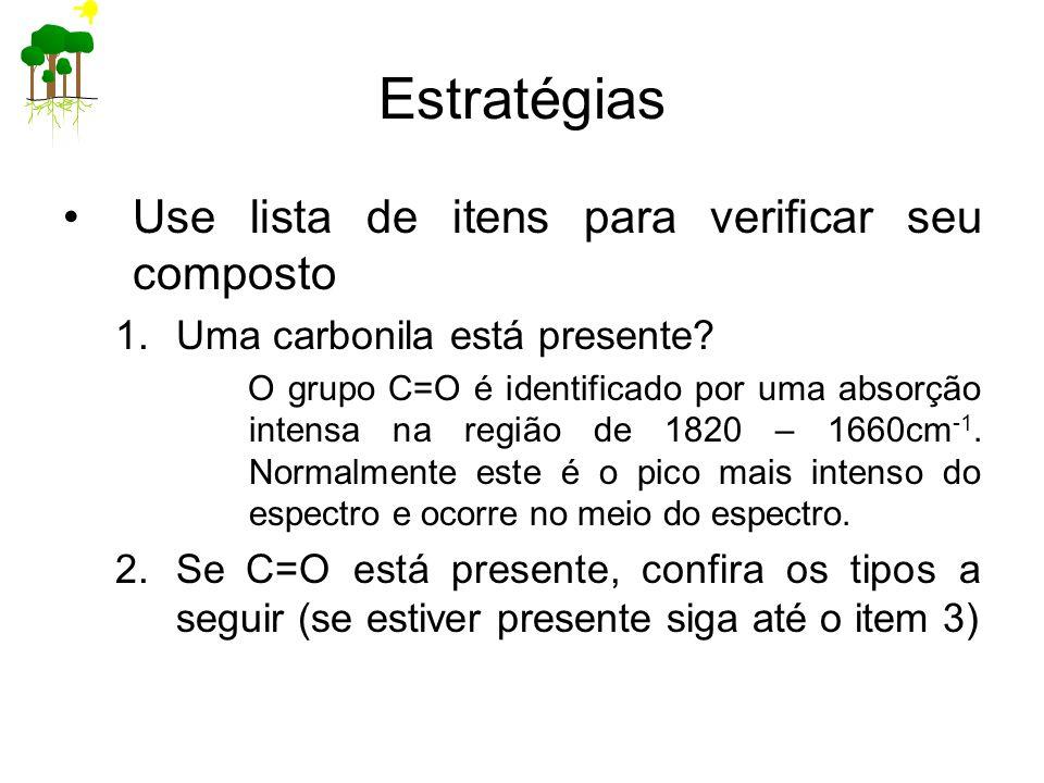 Estratégias Use lista de itens para verificar seu composto 1.Uma carbonila está presente? O grupo C=O é identificado por uma absorção intensa na regiã