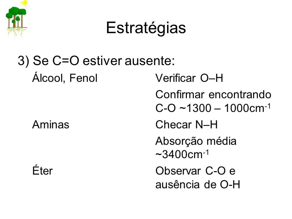Estratégias 3) Se C=O estiver ausente: Álcool, FenolVerificar O–H Confirmar encontrando C-O ~1300 – 1000cm -1 AminasChecar N–H Absorção média ~3400cm