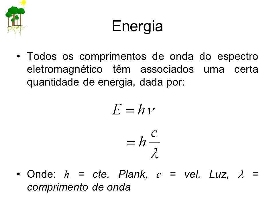 Energia Todos os comprimentos de onda do espectro eletromagnético têm associados uma certa quantidade de energia, dada por: Onde: h = cte. Plank, c =