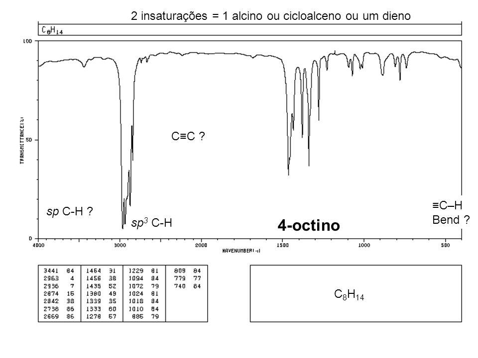 C 8 H 14 2 insaturações = 1 alcino ou cicloalceno ou um dieno CC ? sp 3 C-H sp C-H ? 4-octino C–H Bend ?