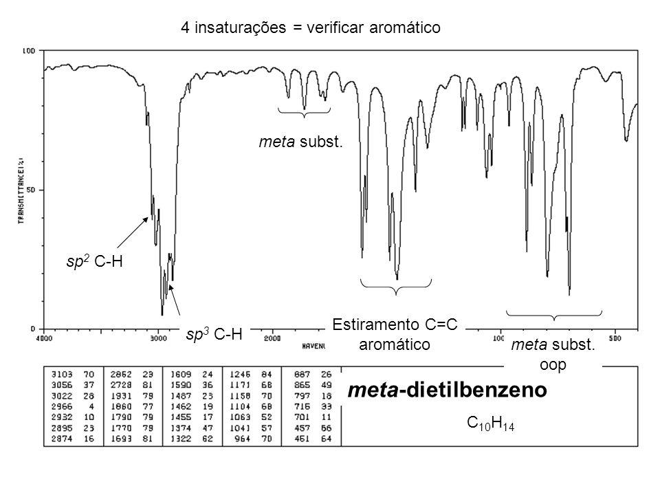 C 10 H 14 4 insaturações = verificar aromático sp 2 C-H meta subst. Estiramento C=C aromático sp 3 C-H meta subst. oop meta-dietilbenzeno