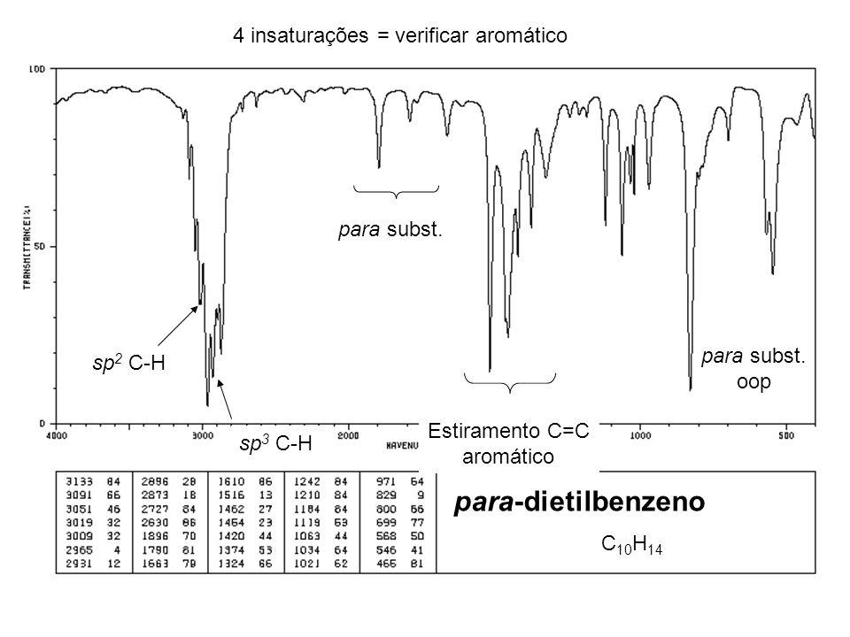 C 10 H 14 4 insaturações = verificar aromático sp 2 C-H para subst. Estiramento C=C aromático sp 3 C-H para subst. oop para-dietilbenzeno