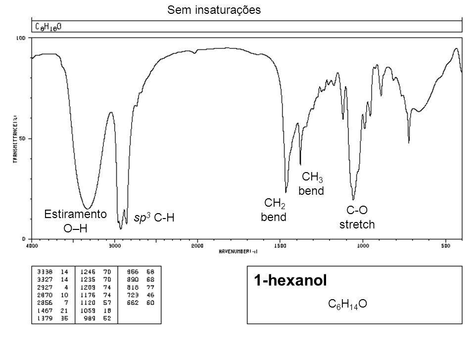 C 6 H 14 O Sem insaturações CH 2 bend sp 3 C-H Estiramento O–H 1-hexanol C-O stretch CH 3 bend