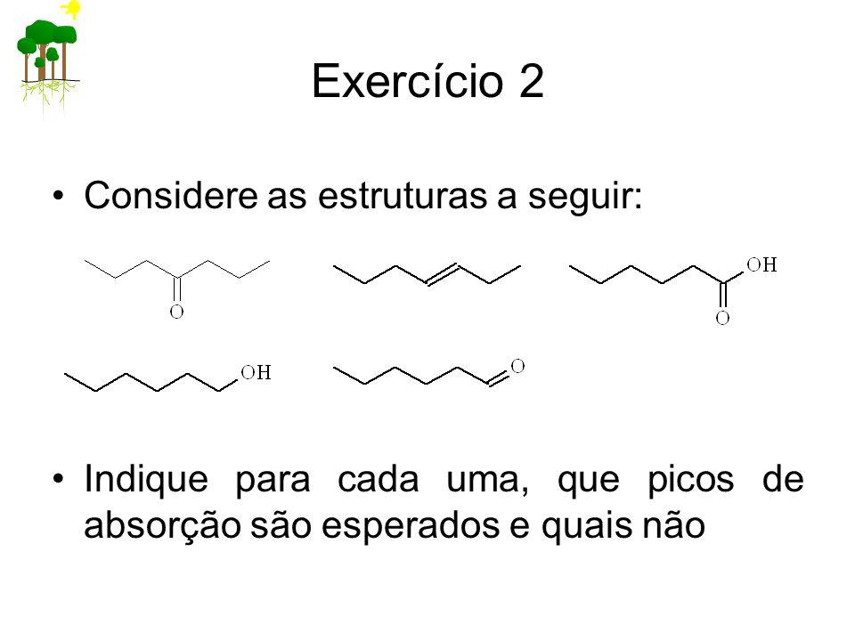 Exercício 2 Considere as estruturas a seguir: Indique para cada uma, que picos de absorção são esperados e quais não