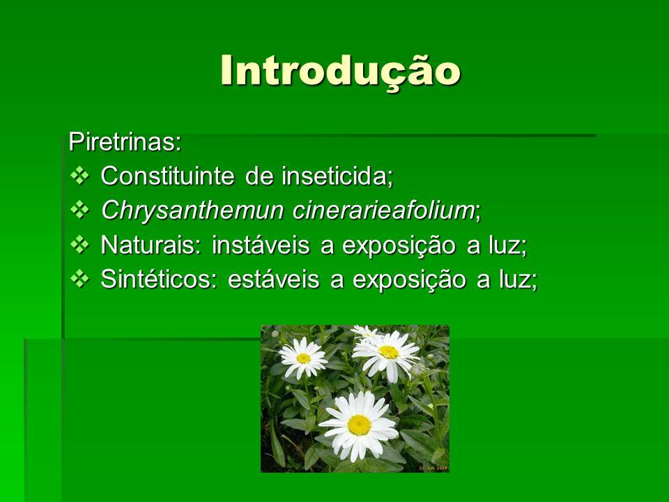Grupos químicos dos inseticidas Organofosforados; Organofosforados; Carbamatos; Carbamatos; Organoclorados; Organoclorados; Piretróides: Piretróides: Éster crisantêmico (piretrina I)Éster crisantêmico (piretrina I) Éster pirétrico (piretrina II)Éster pirétrico (piretrina II) Piretrina I, R = CH3 Piretrina II, R = CO2CH3