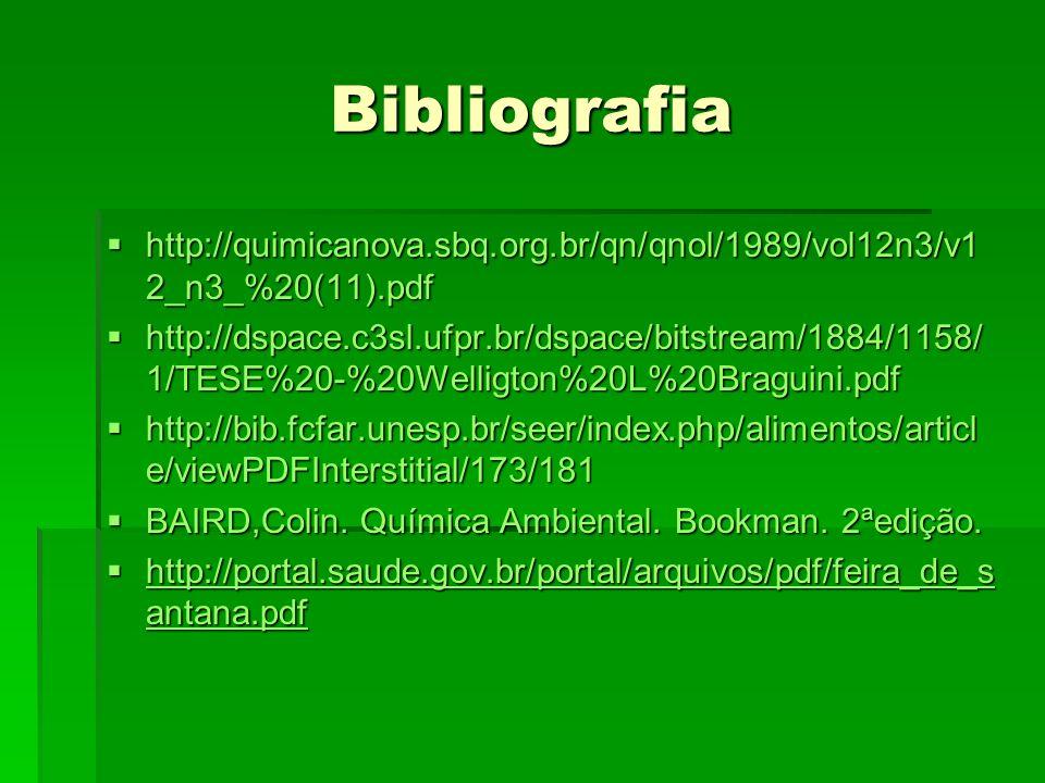 Bibliografia http://quimicanova.sbq.org.br/qn/qnol/1989/vol12n3/v1 2_n3_%20(11).pdf http://quimicanova.sbq.org.br/qn/qnol/1989/vol12n3/v1 2_n3_%20(11).pdf http://dspace.c3sl.ufpr.br/dspace/bitstream/1884/1158/ 1/TESE%20-%20Welligton%20L%20Braguini.pdf http://dspace.c3sl.ufpr.br/dspace/bitstream/1884/1158/ 1/TESE%20-%20Welligton%20L%20Braguini.pdf http://bib.fcfar.unesp.br/seer/index.php/alimentos/articl e/viewPDFInterstitial/173/181 http://bib.fcfar.unesp.br/seer/index.php/alimentos/articl e/viewPDFInterstitial/173/181 BAIRD,Colin.