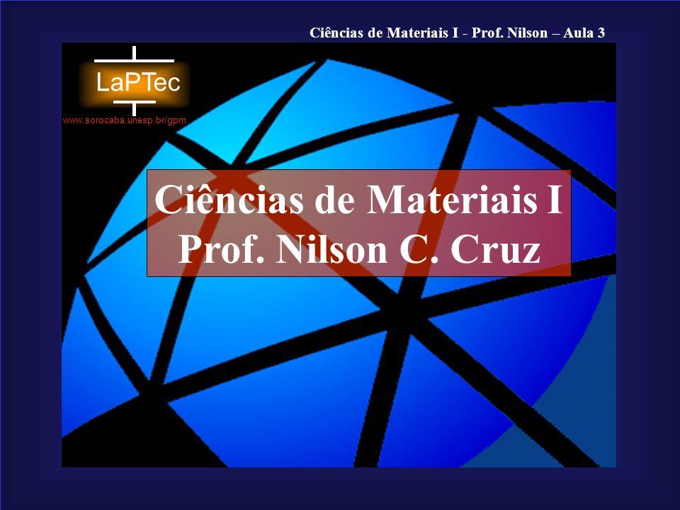 Ciências de Materiais I - Prof. Nilson – Aula 3 www.sorocaba.unesp.br/gpm Aula 3 Arranjos Atômicos