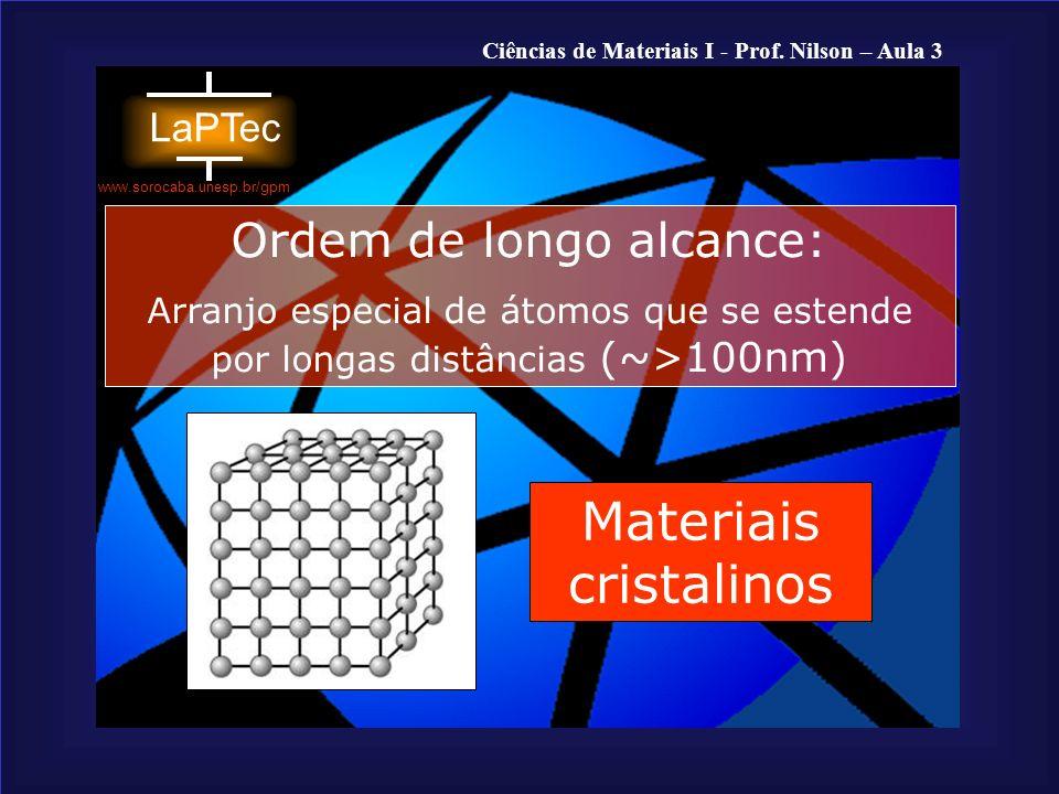 Ciências de Materiais I - Prof.Nilson – Aula 3 www.sorocaba.unesp.br/gpm Materiais Cristalinos...