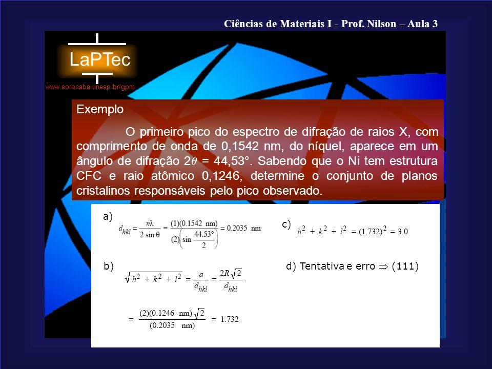 Ciências de Materiais I - Prof. Nilson – Aula 3 www.sorocaba.unesp.br/gpm Exemplo O primeiro pico do espectro de difração de raios X, com comprimento